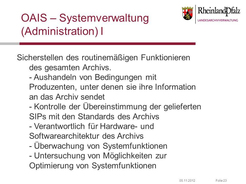 05.11.2012Folie 23 OAIS – Systemverwaltung (Administration) I Sicherstellen des routinemäßigen Funktionieren des gesamten Archivs. - Aushandeln von Be