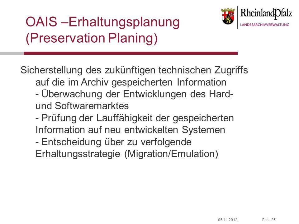 05.11.2012Folie 25 OAIS –Erhaltungsplanung (Preservation Planing) Sicherstellung des zukünftigen technischen Zugriffs auf die im Archiv gespeicherten