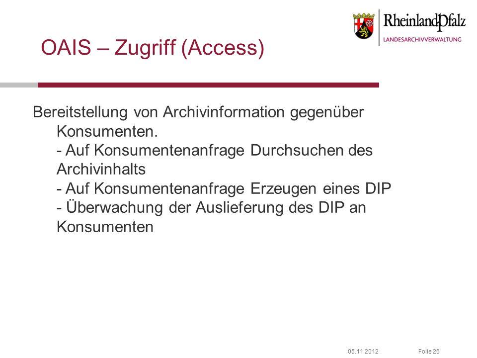 05.11.2012Folie 26 OAIS – Zugriff (Access) Bereitstellung von Archivinformation gegenüber Konsumenten. - Auf Konsumentenanfrage Durchsuchen des Archiv
