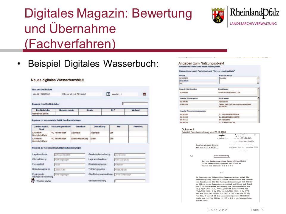 05.11.2012Folie 31 Digitales Magazin: Bewertung und Übernahme (Fachverfahren) Beispiel Digitales Wasserbuch: