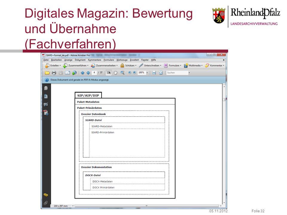 05.11.2012Folie 32 Digitales Magazin: Bewertung und Übernahme (Fachverfahren)