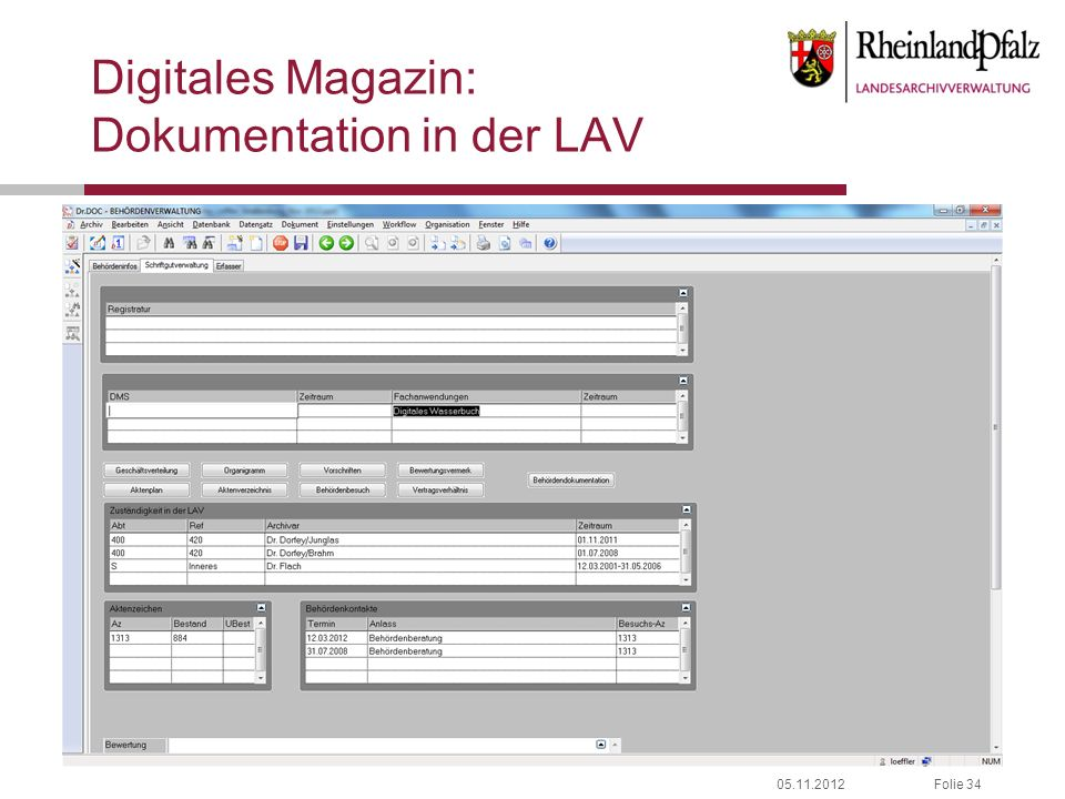 05.11.2012Folie 34 Digitales Magazin: Dokumentation in der LAV