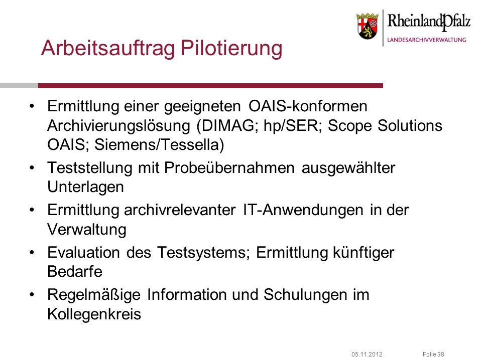 05.11.2012Folie 38 Arbeitsauftrag Pilotierung Ermittlung einer geeigneten OAIS-konformen Archivierungslösung (DIMAG; hp/SER; Scope Solutions OAIS; Sie