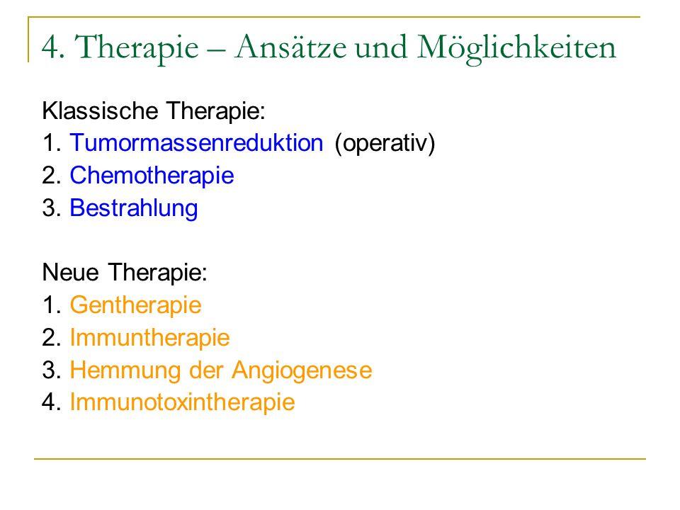 4. Therapie – Ansätze und Möglichkeiten Klassische Therapie: 1. Tumormassenreduktion (operativ) 2. Chemotherapie 3. Bestrahlung Neue Therapie: 1. Gent