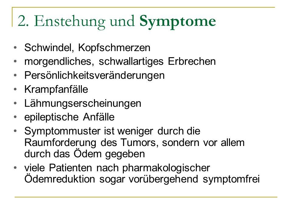 2. Enstehung und Symptome Schwindel, Kopfschmerzen morgendliches, schwallartiges Erbrechen Persönlichkeitsveränderungen Krampfanfälle Lähmungserschein