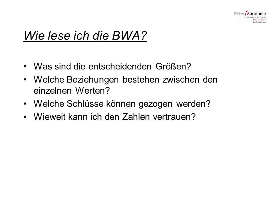 Wie lese ich die BWA? Was sind die entscheidenden Größen? Welche Beziehungen bestehen zwischen den einzelnen Werten? Welche Schlüsse können gezogen we