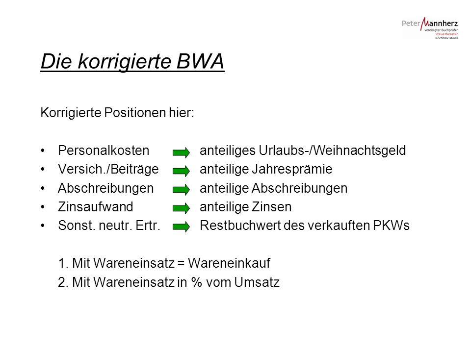 Die korrigierte BWA Korrigierte Positionen hier: Personalkosten anteiliges Urlaubs-/Weihnachtsgeld Versich./Beiträge anteilige Jahresprämie Abschreibu