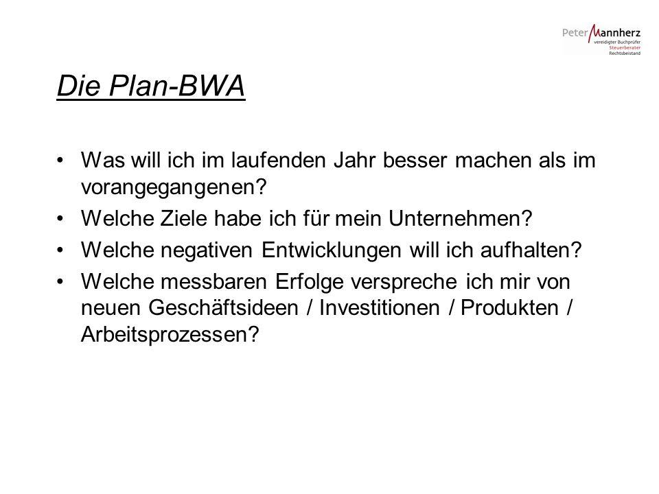 Die Plan-BWA Was will ich im laufenden Jahr besser machen als im vorangegangenen? Welche Ziele habe ich für mein Unternehmen? Welche negativen Entwick