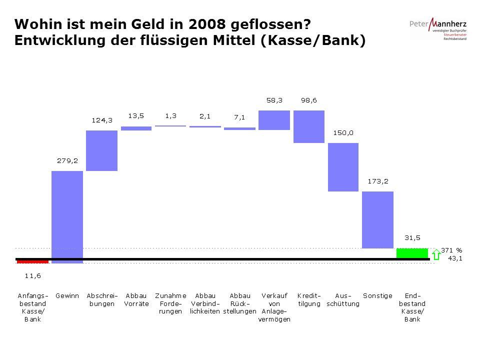 Wohin ist mein Geld in 2008 geflossen? Entwicklung der flüssigen Mittel (Kasse/Bank)