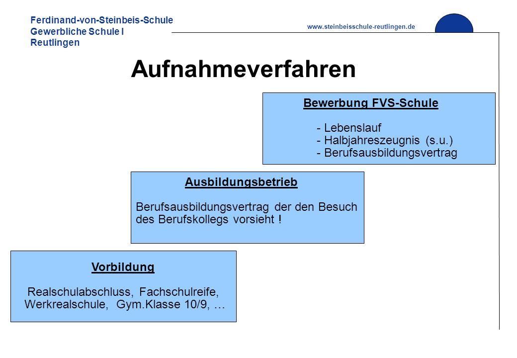 Ferdinand-von-Steinbeis-Schule Gewerbliche Schule I Reutlingen www.steinbeisschule-reutlingen.de Aufnahmeverfahren Vorbildung Realschulabschluss, Fach