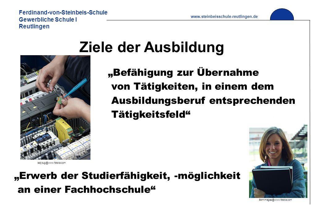 Ferdinand-von-Steinbeis-Schule Gewerbliche Schule I Reutlingen www.steinbeisschule-reutlingen.de Ziele der Ausbildung Befähigung zur Übernahme von Tät