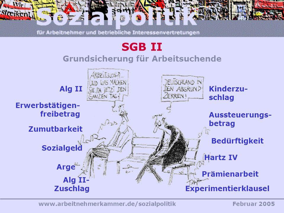 www.arbeitnehmerkammer.de/sozialpolitikFebruar 2005 SGB II Grundsicherung für Arbeitsuchende Aussteuerungs- betrag Hartz IV Experimentierklausel Kinde