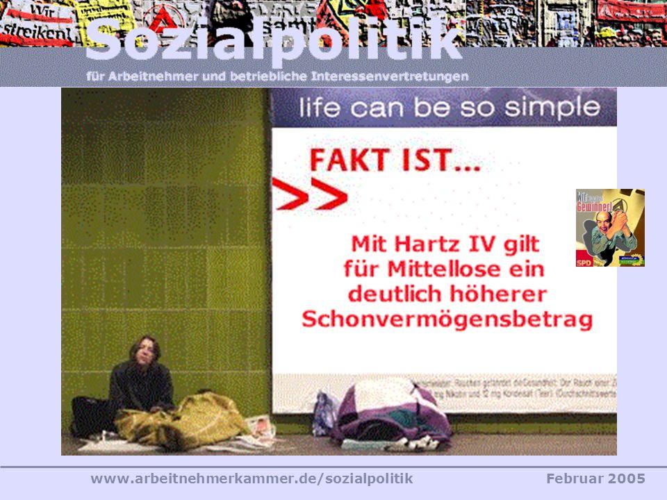 www.arbeitnehmerkammer.de/sozialpolitikFebruar 2005 «Erwerbsfähige Sozialhilfeempfänger werden materiell deutlich besser gestellt.» SGB II – Das neue