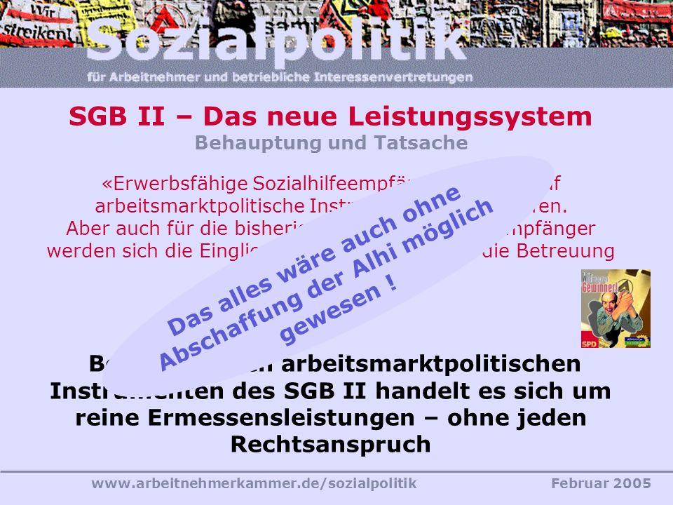 www.arbeitnehmerkammer.de/sozialpolitikFebruar 2005 SGB II – Das neue Leistungssystem Behauptung und Tatsache «Erwerbsfähige Sozialhilfeempfänger könn