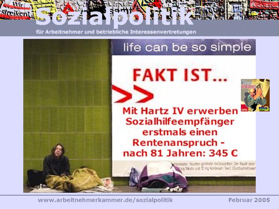 www.arbeitnehmerkammer.de/sozialpolitikFebruar 2005 SGB II – Das neue Leistungssystem Behauptung und Tatsache «Es ist außerdem gerade aus sozialdemokr