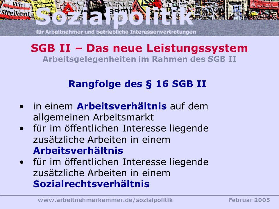 www.arbeitnehmerkammer.de/sozialpolitikFebruar 2005 SGB II – Das neue Leistungssystem Arbeitsgelegenheiten im Rahmen des SGB II Rangfolge des § 16 SGB