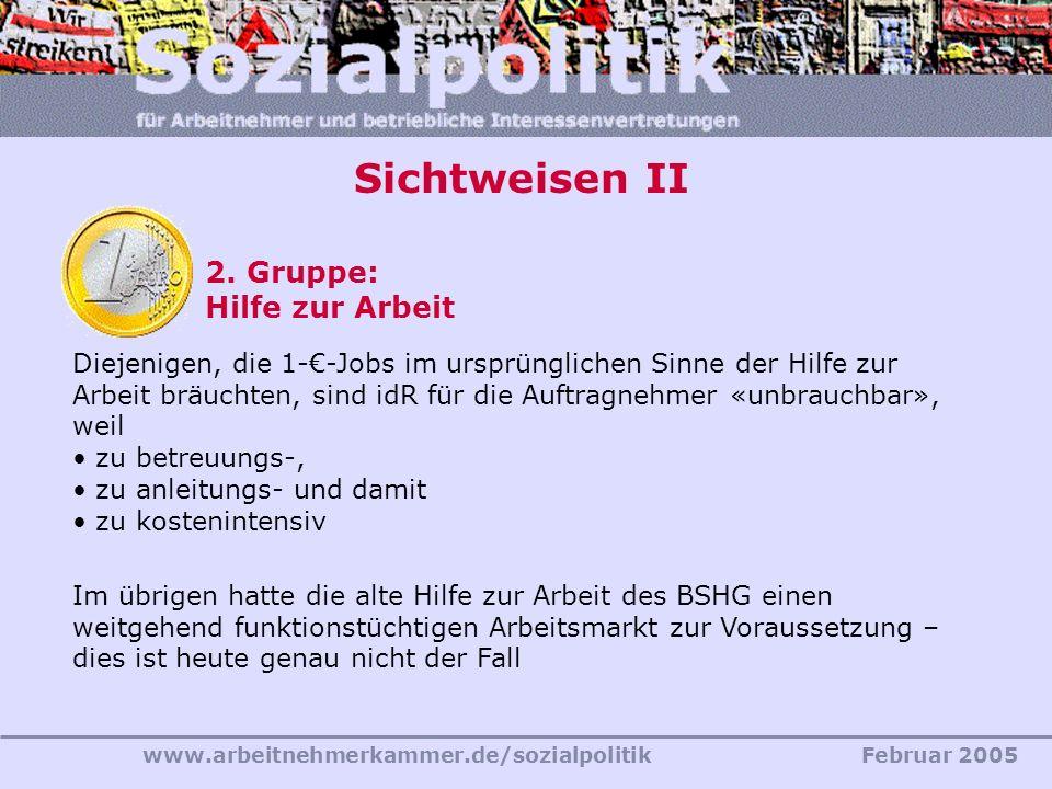 www.arbeitnehmerkammer.de/sozialpolitikFebruar 2005 Sichtweisen II 2. Gruppe: Hilfe zur Arbeit Diejenigen, die 1--Jobs im ursprünglichen Sinne der Hil
