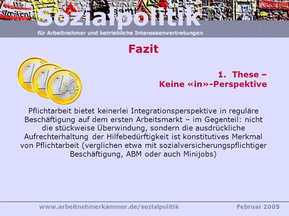 www.arbeitnehmerkammer.de/sozialpolitikFebruar 2005 Fazit 1.These – Keine «in»-Perspektive Pflichtarbeit bietet keinerlei Integrationsperspektive in r