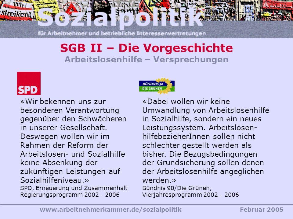 www.arbeitnehmerkammer.de/sozialpolitikFebruar 2005 SGB II – Die Vorgeschichte Arbeitslosenhilfe – Versprechungen «Wir bekennen uns zur besonderen Ver