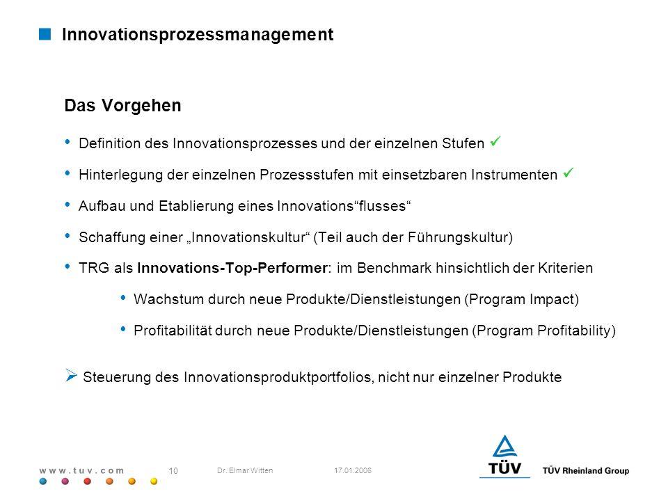 w w w. t u v. c o m 17.01.2006 10 Dr. Elmar Witten Innovationsprozessmanagement Das Vorgehen Definition des Innovationsprozesses und der einzelnen Stu