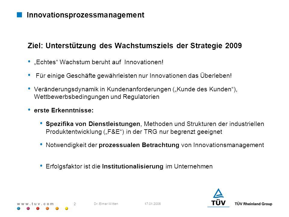 w w w. t u v. c o m 17.01.2006 2 Dr. Elmar Witten Innovationsprozessmanagement Ziel: Unterstützung des Wachstumsziels der Strategie 2009 Echtes Wachst