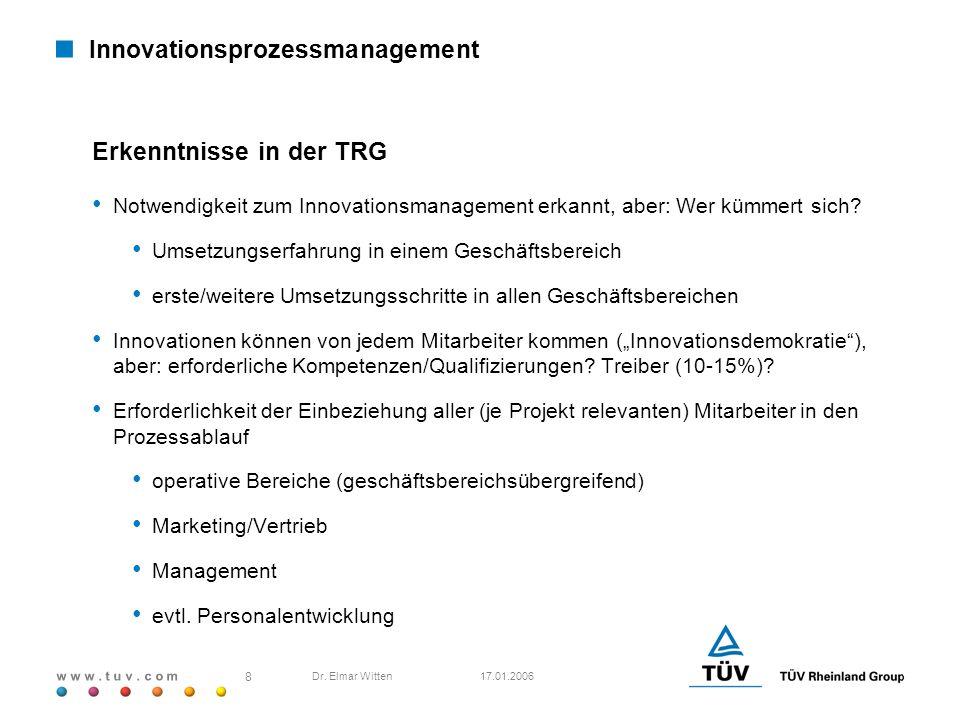 w w w. t u v. c o m 17.01.2006 8 Dr. Elmar Witten Innovationsprozessmanagement Erkenntnisse in der TRG Notwendigkeit zum Innovationsmanagement erkannt