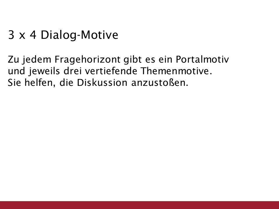 3 x 4 Dialog-Motive Zu jedem Fragehorizont gibt es ein Portalmotiv und jeweils drei vertiefende Themenmotive.
