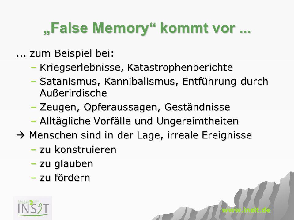 23 www.insit.de Salvatore Dali zum Gedächtnis Der Unterschied zwischen falschen Erinnerungen und wahren ist der selbe wie bei Juwelen: Es sind immer die Falschen, die am echtesten, am brilliantesten aussehen.
