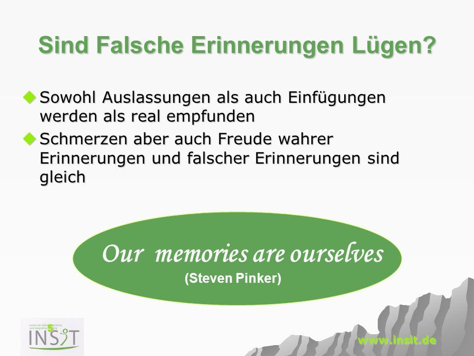 26 www.insit.de Veränderung durch Abrufsituation 2 Verhalten beeinflusst Gedächtnis.