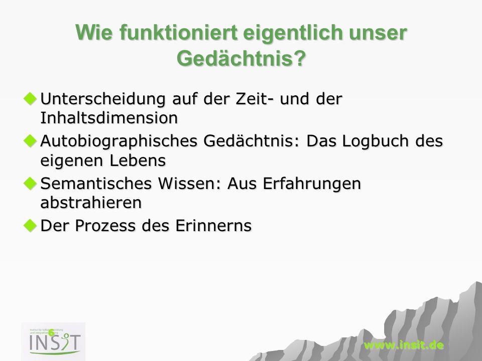 7 www.insit.de Das Gedächtnis: Zeitdimension Zeit: Kurzzeitgedächtnis (KZG) Kurzzeitgedächtnis (KZG) –Speicherdauer wenige Minuten –Kapazität gering Langzeitgedächtnis (LZG) Langzeitgedächtnis (LZG) –Speicherdauer max.