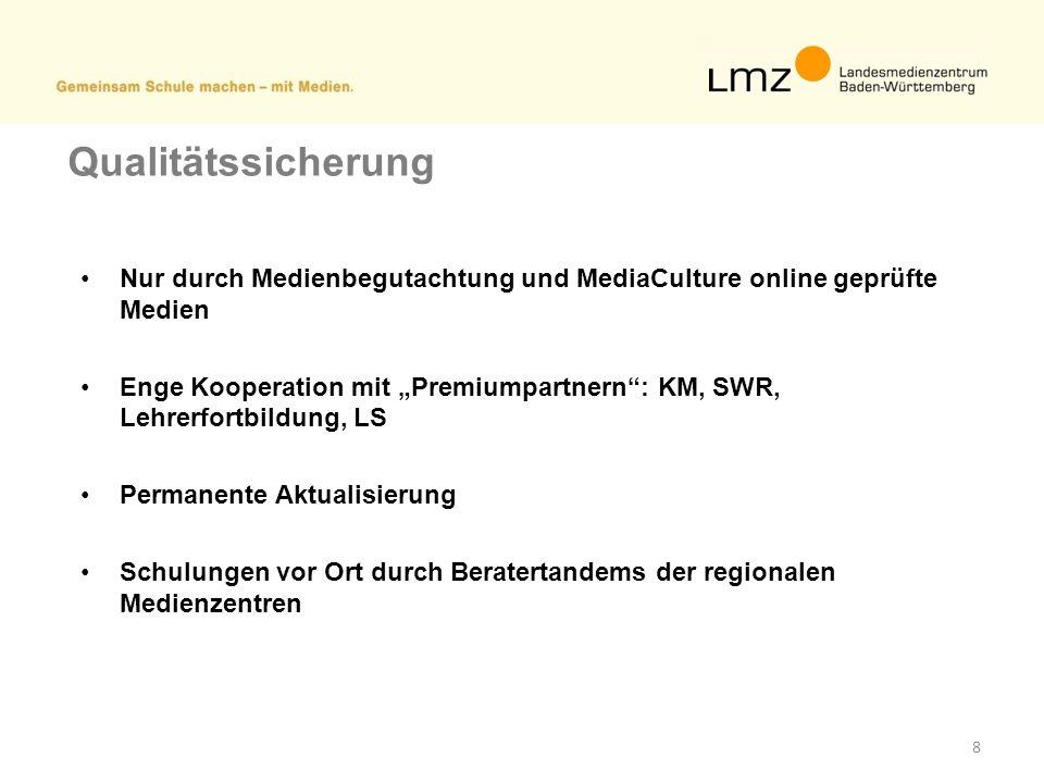 8 Qualitätssicherung Nur durch Medienbegutachtung und MediaCulture online geprüfte Medien Enge Kooperation mit Premiumpartnern: KM, SWR, Lehrerfortbil