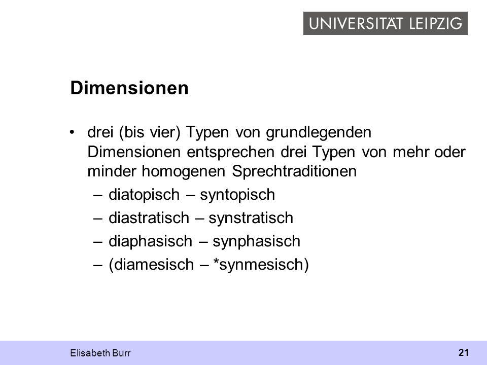 Elisabeth Burr 21 Dimensionen drei (bis vier) Typen von grundlegenden Dimensionen entsprechen drei Typen von mehr oder minder homogenen Sprechtraditio