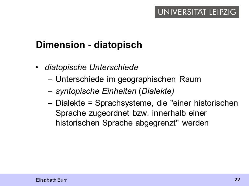 Elisabeth Burr 22 Dimension - diatopisch diatopische Unterschiede –Unterschiede im geographischen Raum –syntopische Einheiten (Dialekte) –Dialekte = S
