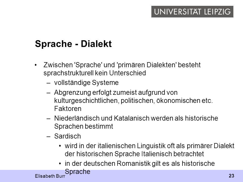 Elisabeth Burr 23 Sprache - Dialekt Zwischen 'Sprache' und 'primären Dialekten' besteht sprachstrukturell kein Unterschied –vollständige Systeme –Abgr