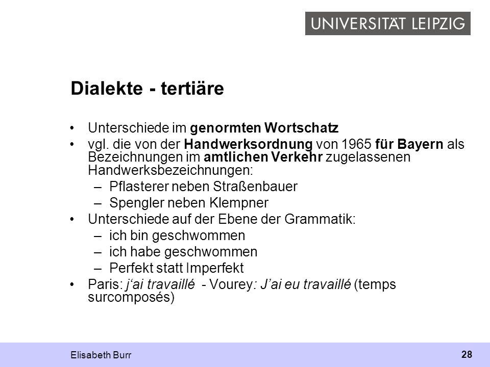 Elisabeth Burr 28 Dialekte - tertiäre Unterschiede im genormten Wortschatz vgl. die von der Handwerksordnung von 1965 für Bayern als Bezeichnungen im