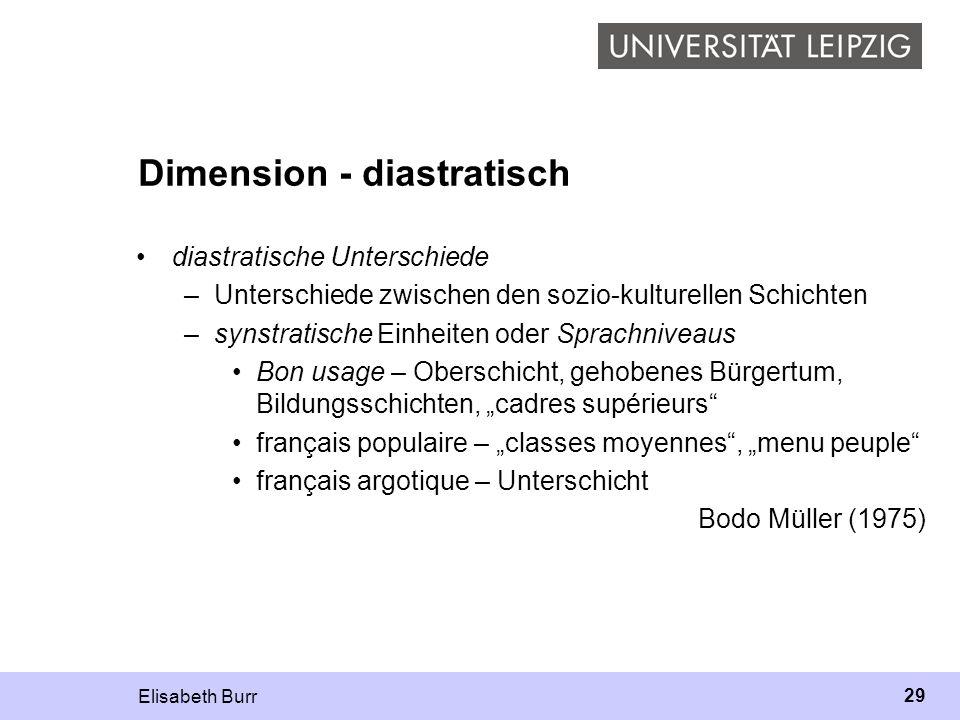 Elisabeth Burr 29 Dimension - diastratisch diastratische Unterschiede –Unterschiede zwischen den sozio-kulturellen Schichten –synstratische Einheiten