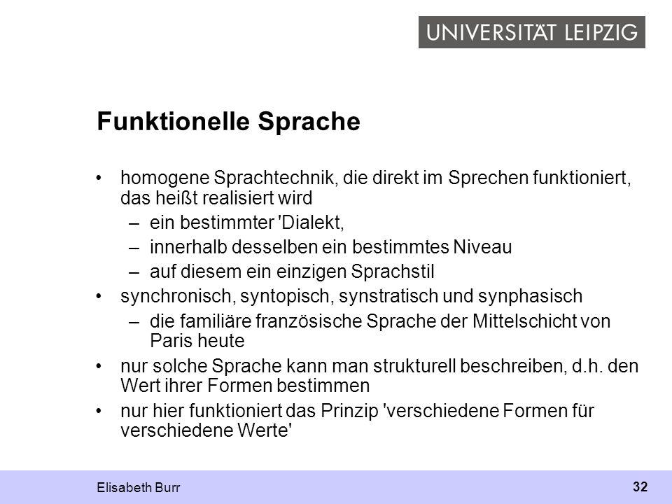 Elisabeth Burr 32 Funktionelle Sprache homogene Sprachtechnik, die direkt im Sprechen funktioniert, das heißt realisiert wird –ein bestimmter 'Dialekt