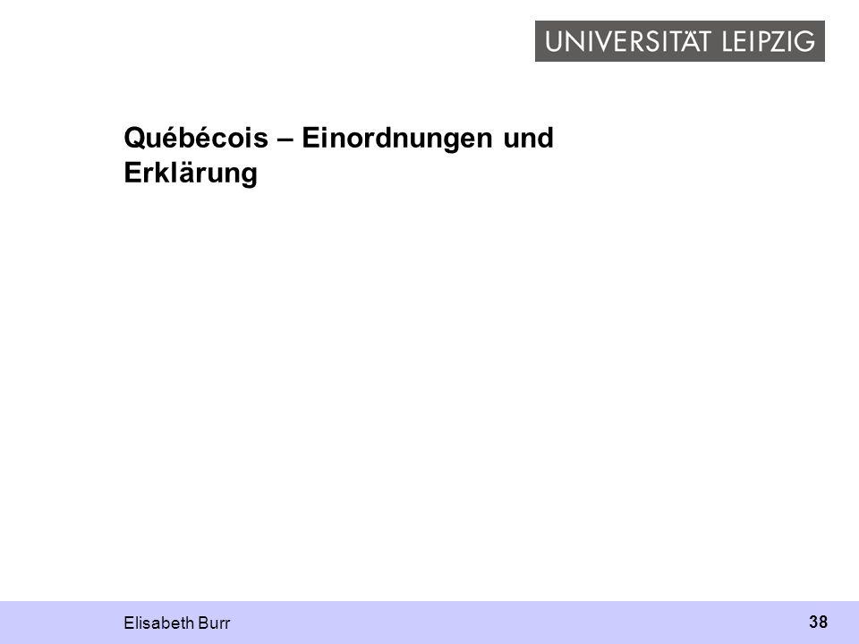 Elisabeth Burr 38 Québécois – Einordnungen und Erklärung