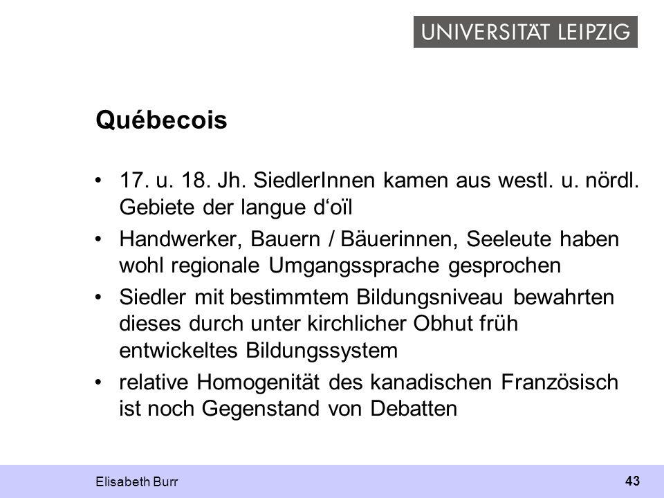 Elisabeth Burr 43 Québecois 17. u. 18. Jh. SiedlerInnen kamen aus westl. u. nördl. Gebiete der langue doïl Handwerker, Bauern / Bäuerinnen, Seeleute h