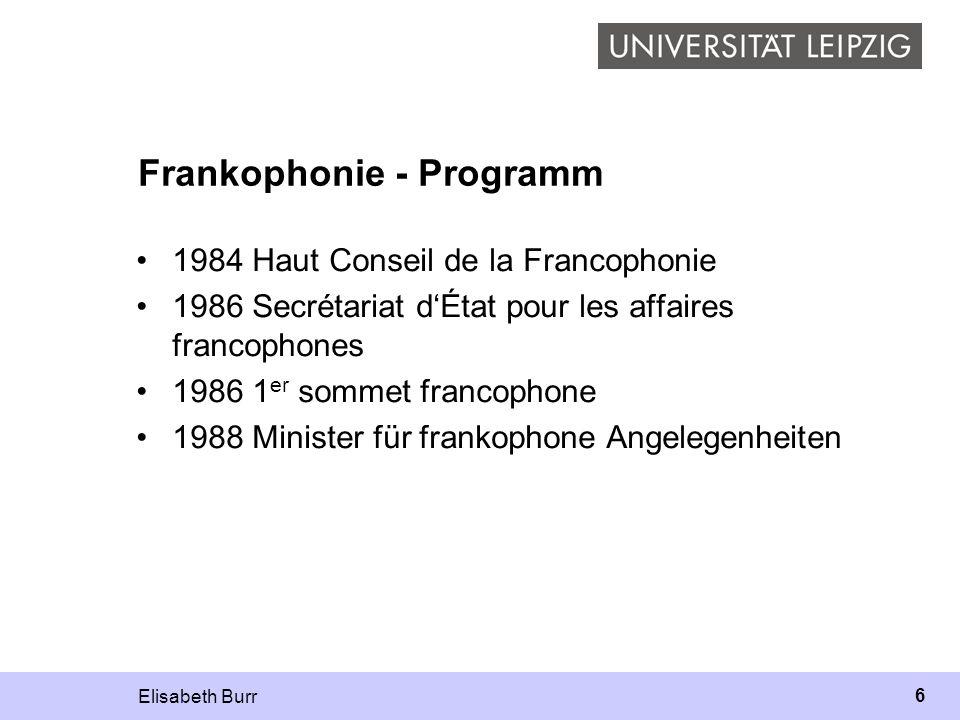 Elisabeth Burr 6 Frankophonie - Programm 1984 Haut Conseil de la Francophonie 1986 Secrétariat dÉtat pour les affaires francophones 1986 1 er sommet f