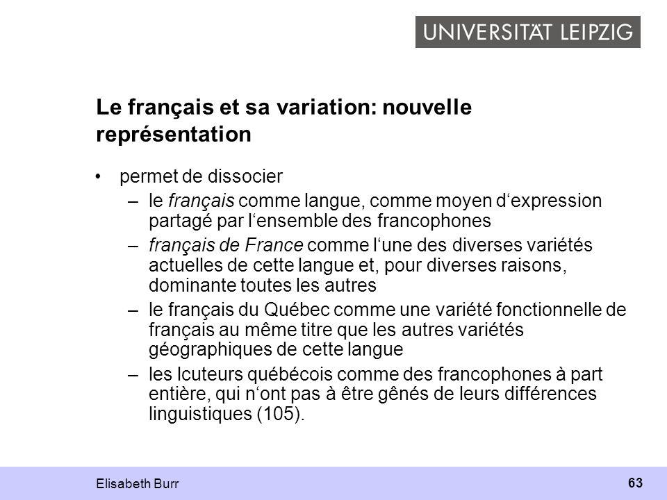Elisabeth Burr 63 Le français et sa variation: nouvelle représentation permet de dissocier –le français comme langue, comme moyen dexpression partagé