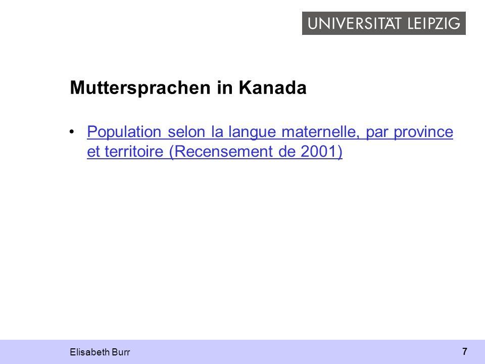 Elisabeth Burr 8 Französisch in Kanada Zensus 2001 Mehrheit lebt in Québec große Gemeinschaften –Acadie (Provinces Maritimes) –Ontario kleine Gemeinschaften –westl.