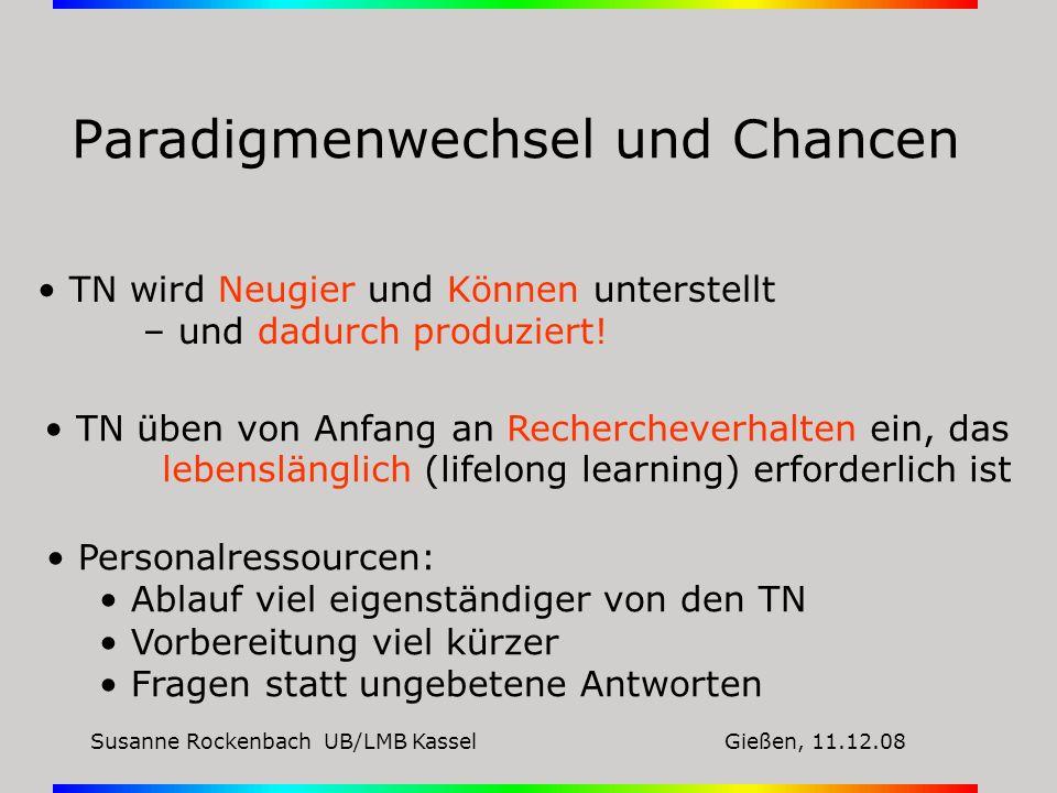 Susanne Rockenbach UB/LMB KasselGießen, 11.12.08 Paradigmenwechsel und Chancen TN wird Neugier und Können unterstellt – und dadurch produziert! TN übe