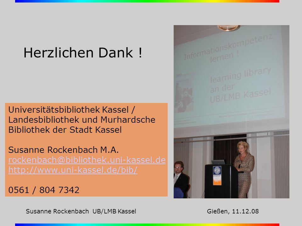 Universitätsbibliothek Kassel / Landesbibliothek und Murhardsche Bibliothek der Stadt Kassel Susanne Rockenbach M.A. rockenbach@bibliothek.uni-kassel.