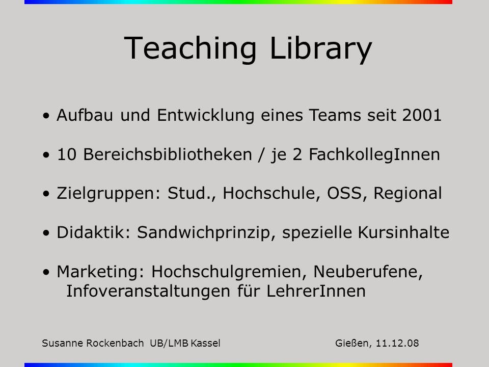 Susanne Rockenbach UB/LMB KasselGießen, 11.12.08 Teaching Library Aufbau und Entwicklung eines Teams seit 2001 10 Bereichsbibliotheken / je 2 Fachkoll