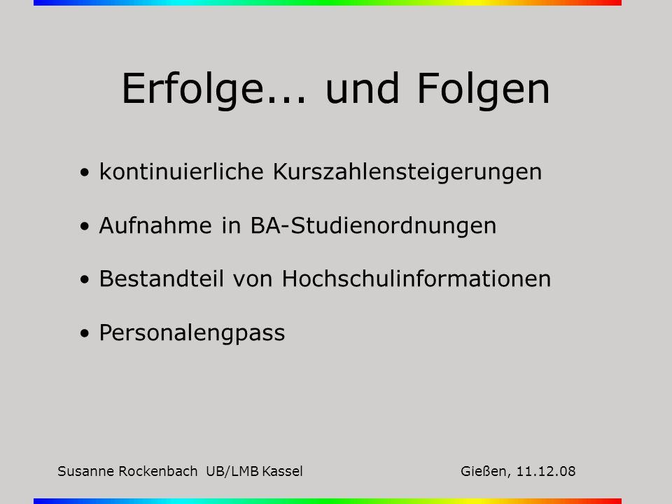 Susanne Rockenbach UB/LMB KasselGießen, 11.12.08 Erfolg schafft Probleme...
