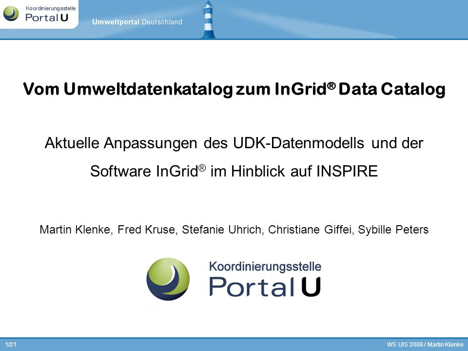 WS UIS 2008 / Martin Klenke2/21 INSPIRE und PortalU ® Anpassungen am UDK-Datenmodell GDI-DE / INSPIRE Metadaten Infrastruktur Gliederung