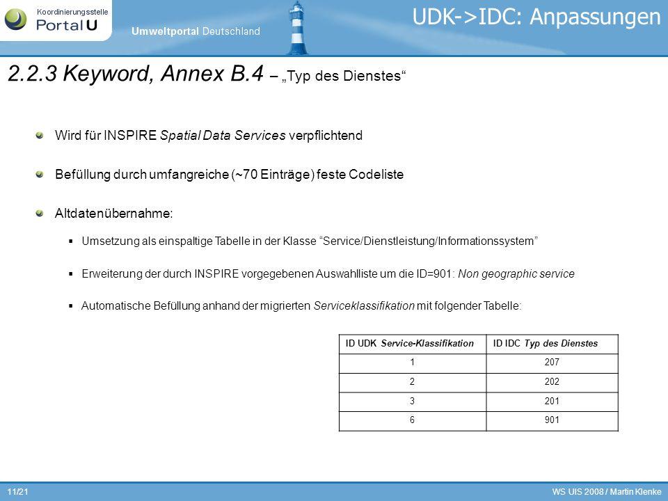 WS UIS 2008 / Martin Klenke11/21 2.2.3 Keyword, Annex B.4 – Typ des Dienstes Wird für INSPIRE Spatial Data Services verpflichtend Befüllung durch umfa