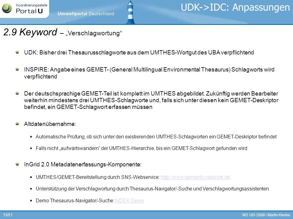 WS UIS 2008 / Martin Klenke13/21 2.9 Keyword – Verschlagwortung UDK: Bisher drei Thesaurusschlagworte aus dem UMTHES-Wortgut des UBA verpflichtend INS