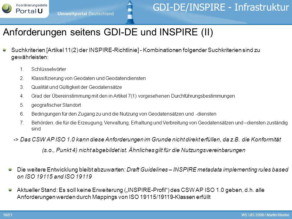WS UIS 2008 / Martin Klenke16/21 GDI-DE/INSPIRE - Infrastruktur Suchkriterien [Artikel 11(2) der INSPIRE-Richtlinie] - Kombinationen folgender Suchkri